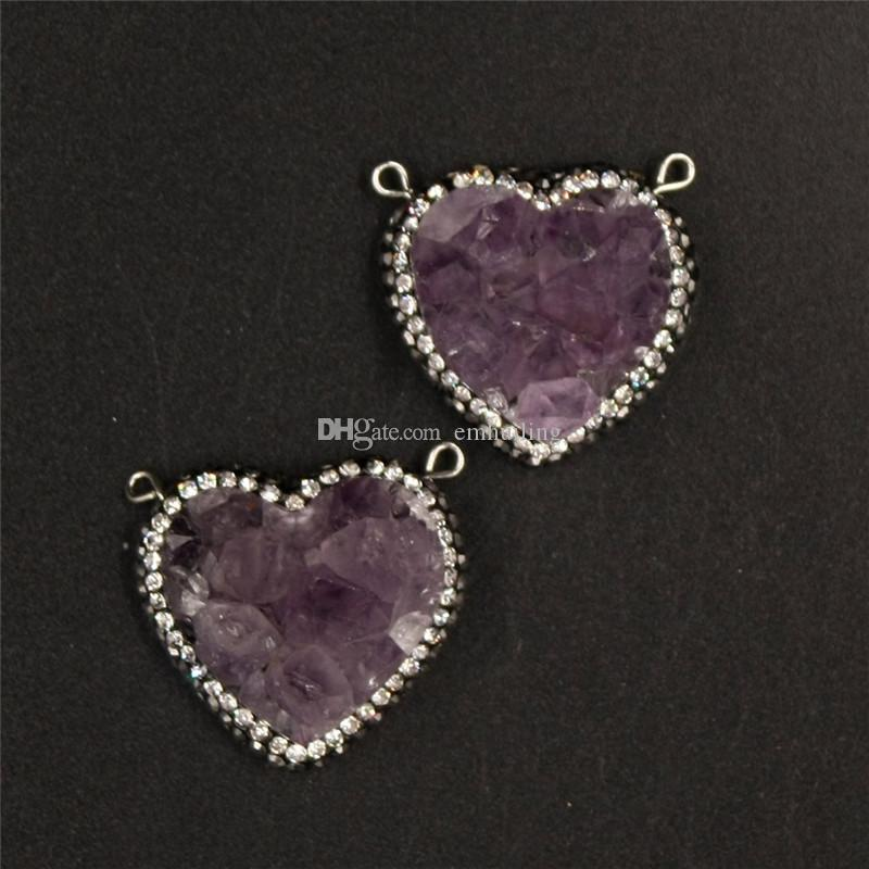 Natural Raw Amethyst Geode Connector Link Zircon Crystal Pave Double Loops Purple Amethyst Cluster Heart Pendant Connector 30*30mm