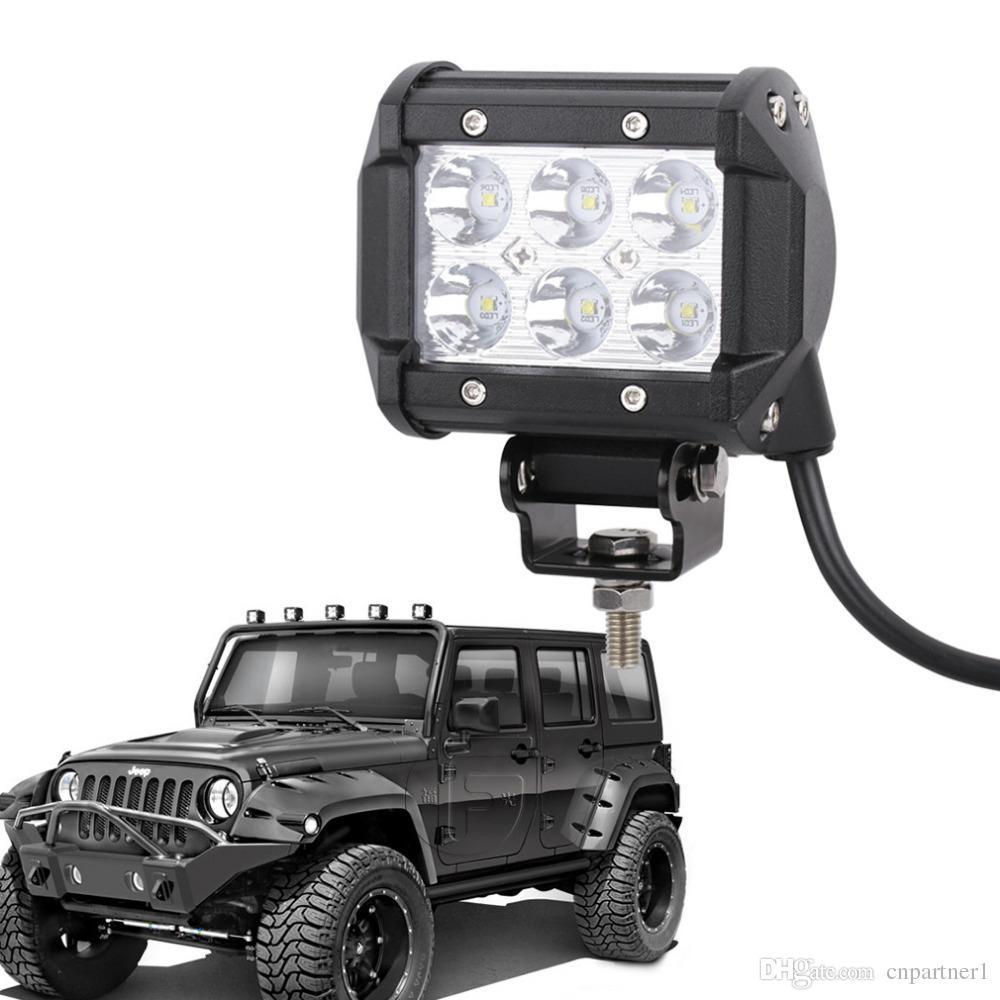 Auto Beleuchtung 4inch 18W 6LEDs LED Arbeit Licht Bar SUV ATV 4WD 4x4 JEEP Spot Flut Beam Offroad Driving Nebelscheinwerfer Scheinwerfer Flutbeam Lampe