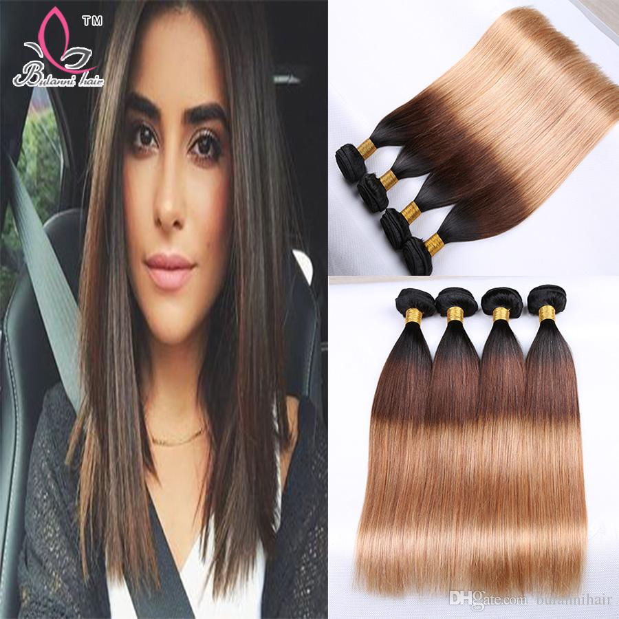 Ombre Weave Straight Hair 4 Bundles Uprocessed Virgin Huaman Ombre