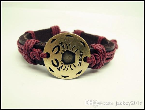 Os Sinais do 12 Zodíaco Charme Pulseira de Couro Genuíno Constelação Símbolo Pulseiras Sinais Zodiacal jóias para Homens Mulheres T2002