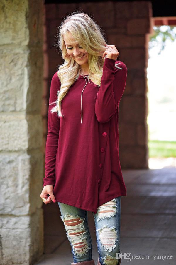 Hot Selling Tops for Women Fashion Casual Zipper Round Neck Blouse Long Sleeve Irregular Dresses Plus Size M L XL QT81013