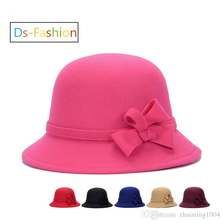 65a39a3ec8416 2019 Elegant Fedoras Hats With A Bow For Women Kentucky Derby Hat Ladies  Dress Church Hat Black Pink Honey Formal Wedding Bucket Woman Hats Sale  From ...