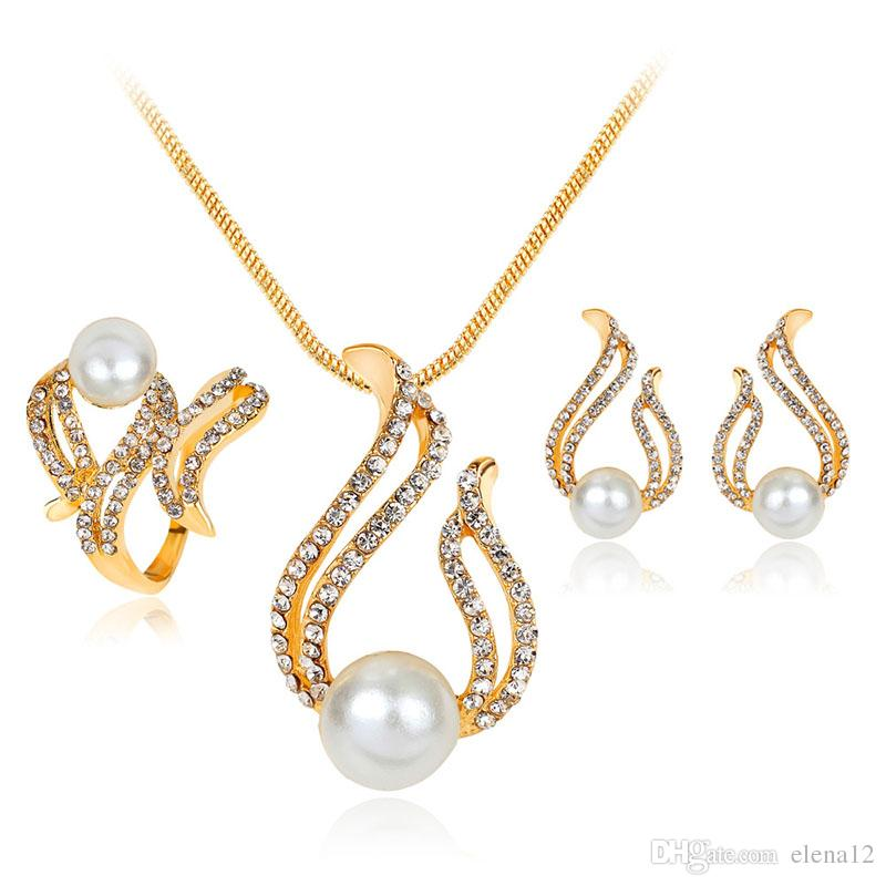 Wedding Jewelry Sets Necklace Earrings And Ring Crystal Pearl ...