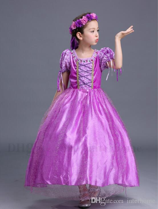 Baby Girl Dresses Costumes pour enfants Cosplay Vêtements Enfants Purple Robe Rapunzel Robe Sophia Gauze Dentelle Flare Manches Robes De Fête H780