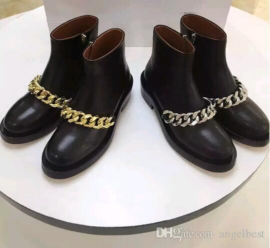 2017 hot sale rome black soft leather metal chain women ankle boots low heel autumn boots fashionable booties shoes big size