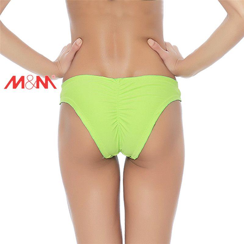 Collar con volantes Triángulo Tronco Sexy Mujeres Traje de baño Braguitas Shorts Laterales Pantalones cortos Cintura de natación Bikini brasileño inferior femenino