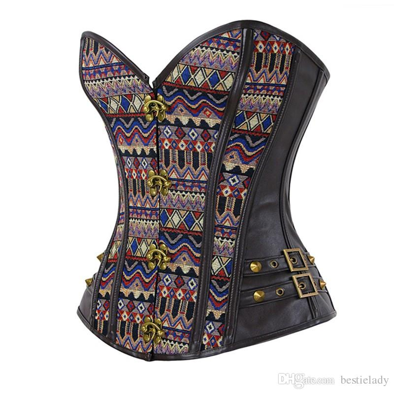 Women Steampunk Bronze Clasp Jacquard Tribal Spiral Steel Boned Overbust Gothic Corset with Side Leather with Buckles Trim and Rivets Detail