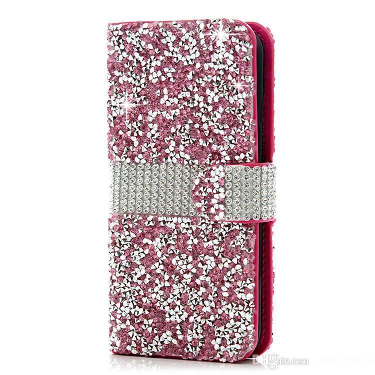 다이아몬드 플립 지갑 전화 케이스 LG LV3 K7 아이폰 6에 대 한 반짝이 블 링 PU 가죽 카드 슬롯 전화 커버 삼성 J6 A7 2018