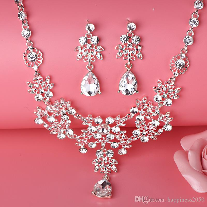 Beauty Silver Flower Pearls Bridal Necklace Tiara Earring Suits Jewelry Suits Wedding Bridal Jewelry P419002
