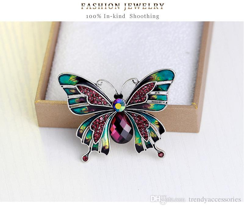 Vintage Jewelry Large Enamel Esmaltes Butterfly Brooches Corsage Brooch Wedding Broach Violetta Insect Hijab Pin Up Broches