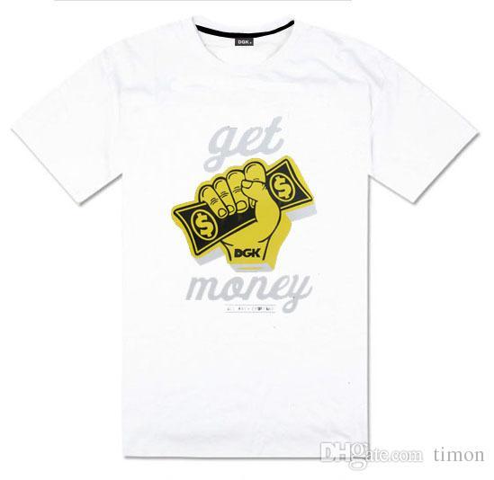 새로운 패션 힙합 DGK 돈을 벌어 T 셔츠 남성 스트리트 스케이트 보드 인쇄 T 셔츠 탑스 반소매 캐주얼 남성 T 셔츠 티 사이즈