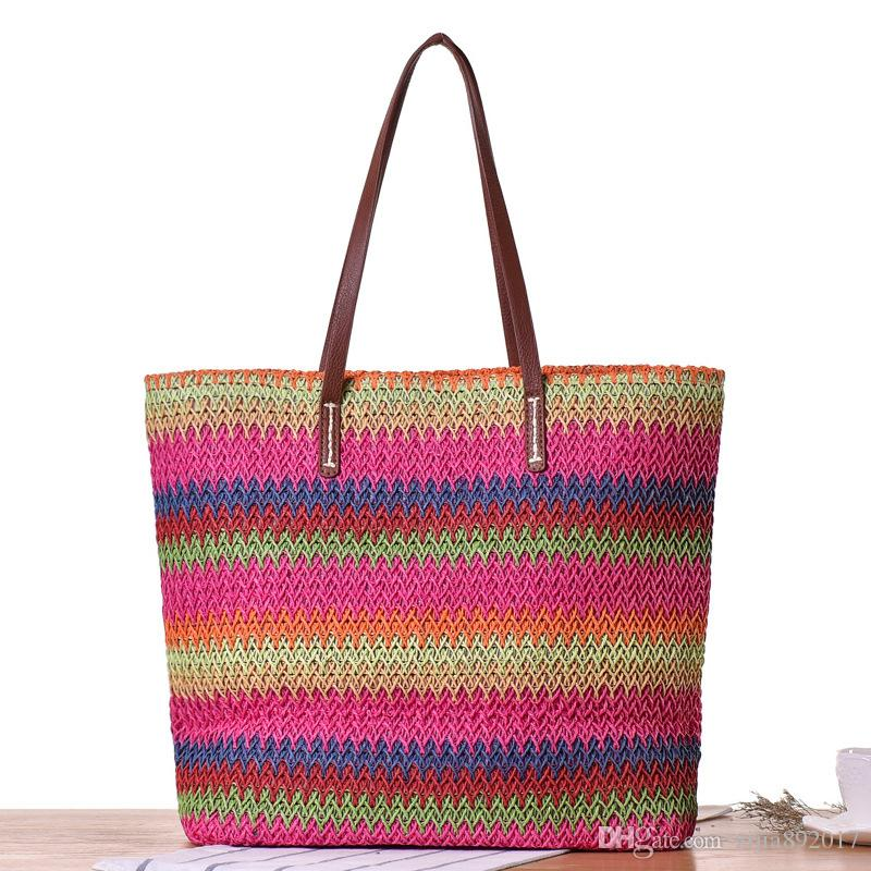 Rainbow Panelled Stripes Beach Bag Summer Big Straw Bags Handmade ... 5c17598cbcca1