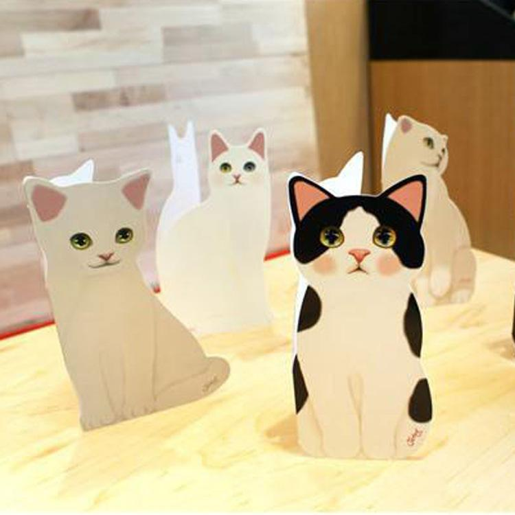 Wholesale Cute Cat Three Dimensional Greeting Folding Cards Birthday Christmas Thanksgiving Day Blessing Festival GiftEnvelopesRomantic