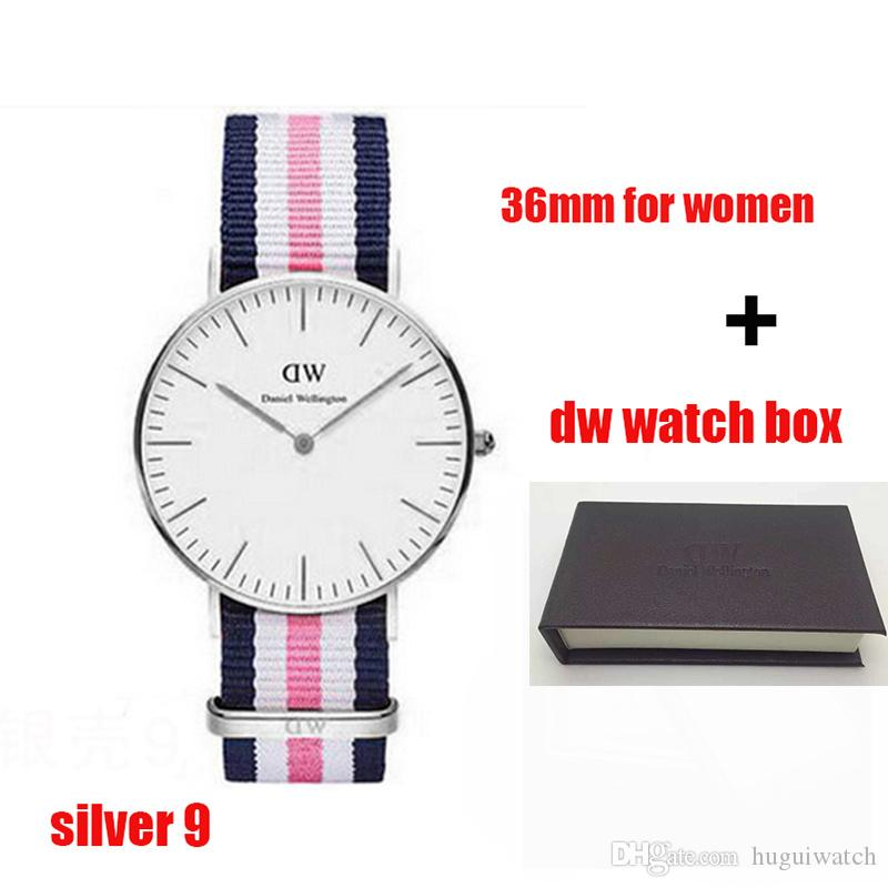 2897926a55d0c 2018 Famous Brand Daniel Women Mens Wellington S WATCHes Fashion Nylon  Strap Style 36mm Silver Ladies Watches With Gift Box Relojes Unique Watches  Black ...