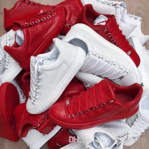 2017 Nuevo Diseñador Nombre Marca Hombre Zapatos Casuales Planos Kanye West Moda Cuero Arrugado Con Cordones Low Cut Entrenadores Runaway Arena Zapatos Tamaño 46