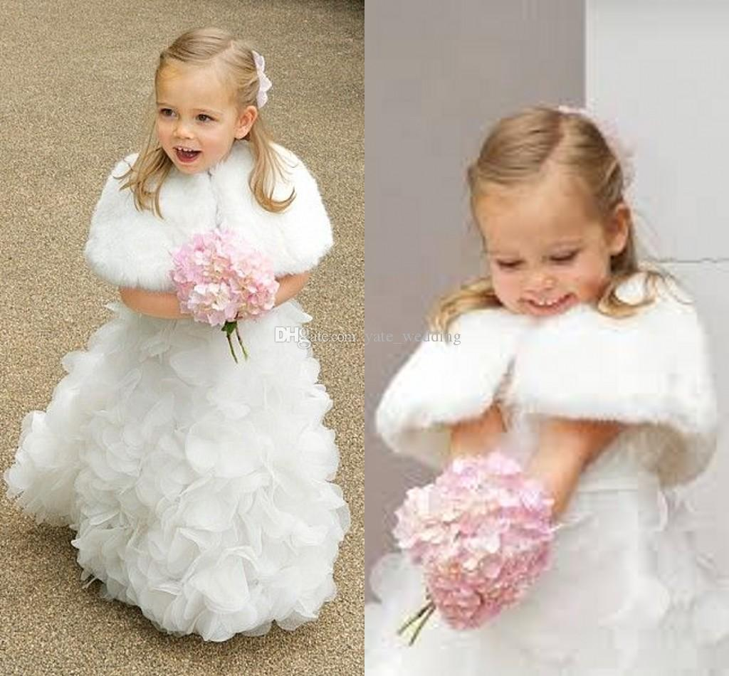cute white winter little girls jacket fashion faux fur children cape