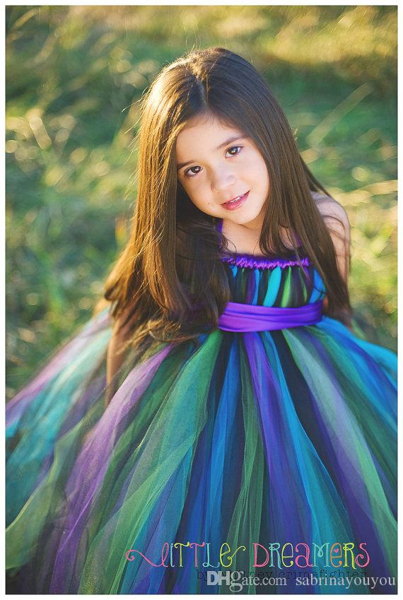 2017 show rainbow tutu tulle baby bridesmaid flower girl wedding dress fluffy ball gown birthday evening prom cloth party dress