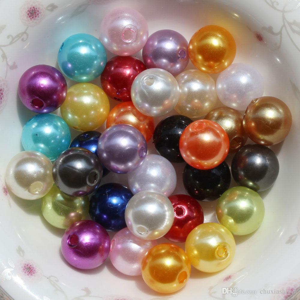 1000 stücke 10 MM Runde Perle Lose Distanzscheibe Acryl Perlen Chunky Nachahmung Perlen Schmuck Machen DIY