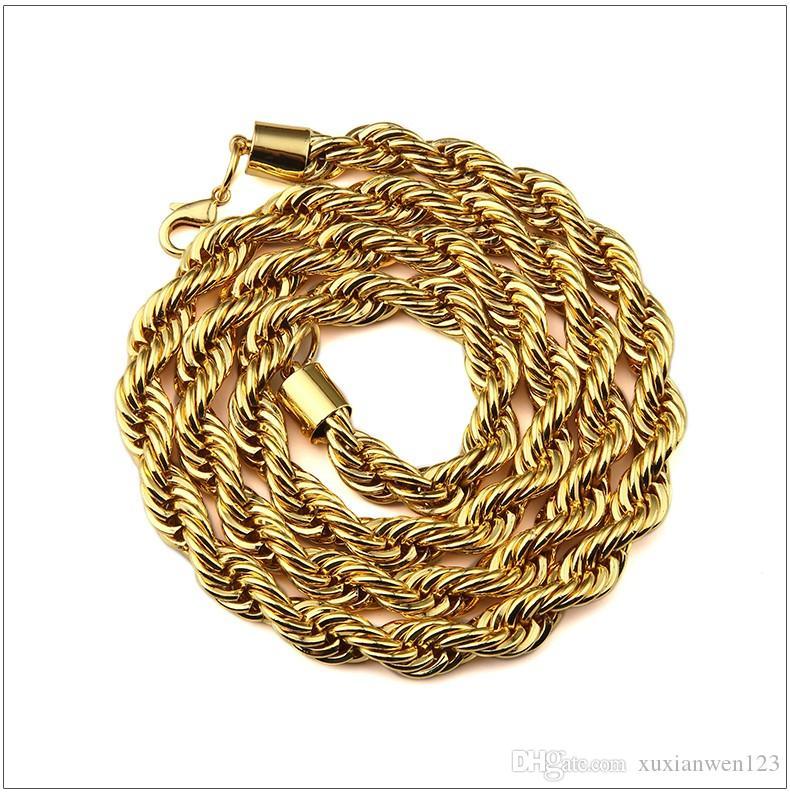 Hot 6-9mm позолоченный металл Braid Twist цепи 29,5 дюймов для мужчин / женщин Потрясающие Мода Прохладный ювелирные изделия