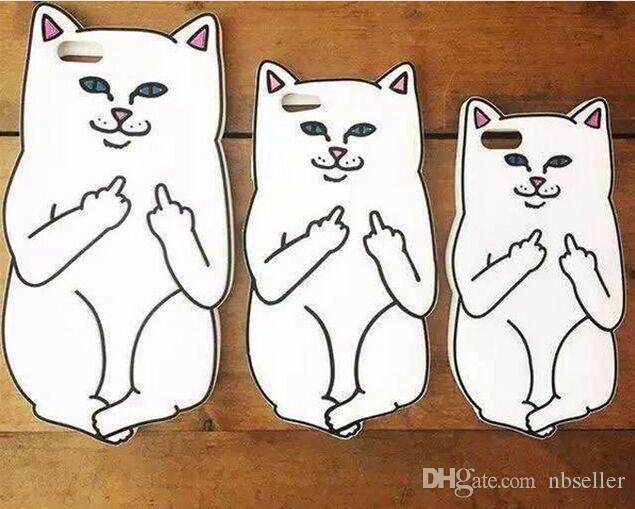3D Soft Silicon Cat Case For Iphone7 Iphone 7 Plus Cartoon Animals Rubber Middle Finger Capa Cover For iphone 6S Plus