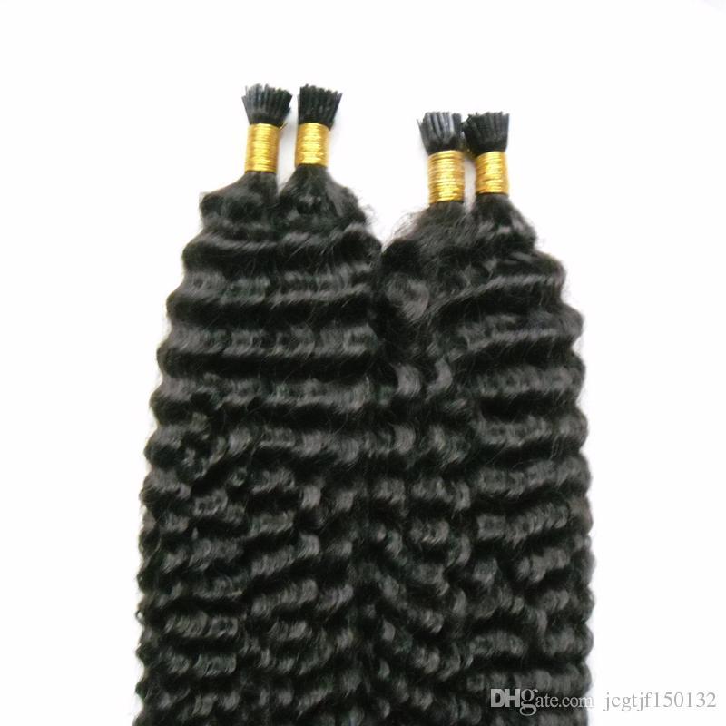 #1 Jet Black prebonded human hair extensions 200s deep wave human hair extensions i tip 200g/strands tip keratin human hair chinese
