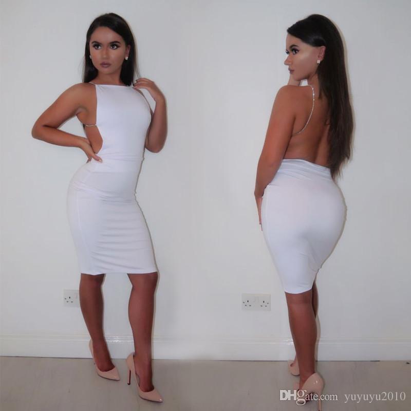 Kadın Seksi Kulübü Elbise Siyah Beyaz Backless Gece Kulübü Parti Elbise Geri Açık Kayış BODYCON Elbise Wrap Bandaj Elbise İçin Kadınlar