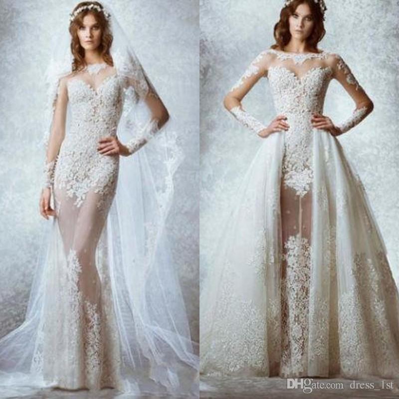 322e35561603 Discount 2017 Zuhair Murad Lace Long Sleeve Sheer Detachable Train Wedding  Dresses Sexy Bateau Lace Applique See Through Skirt Bridal Gowns EN12274  Bridal ...
