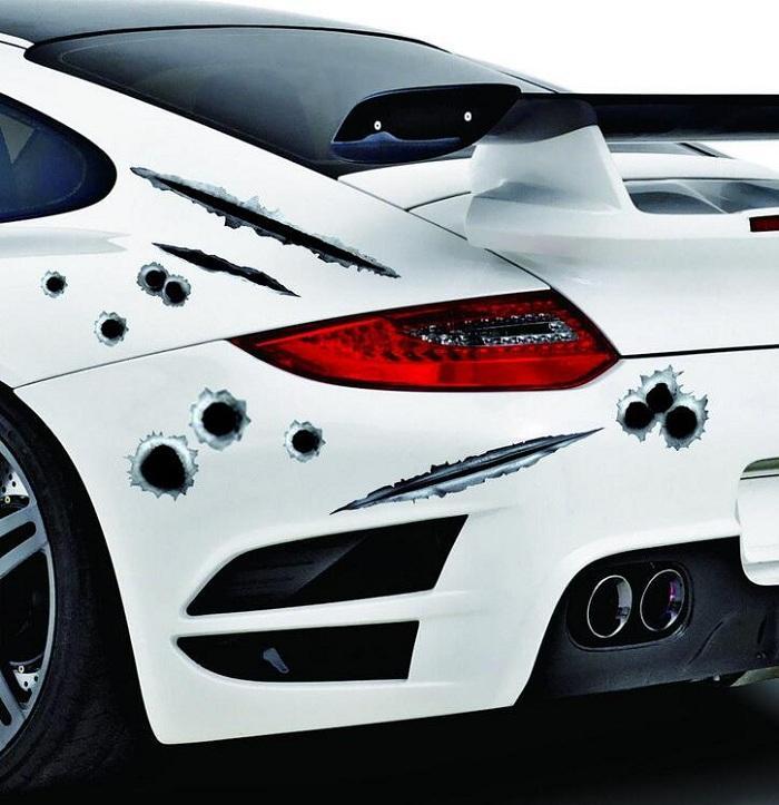 Araba Çıkartmaları Bullet Atış Delik Çıkartması Kapak / Araba Vücut Işık Kaş Ön Arka Kapı Tampon Pencere Dikiz Aynası Için