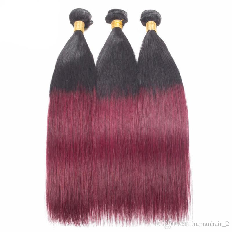 Mink Brazilian Virgin Hair Straight Hair Weaves With Closure 1b 99J Burgundy Ombre Two Tone Human Hair Weave Wine Red Straight Bundles