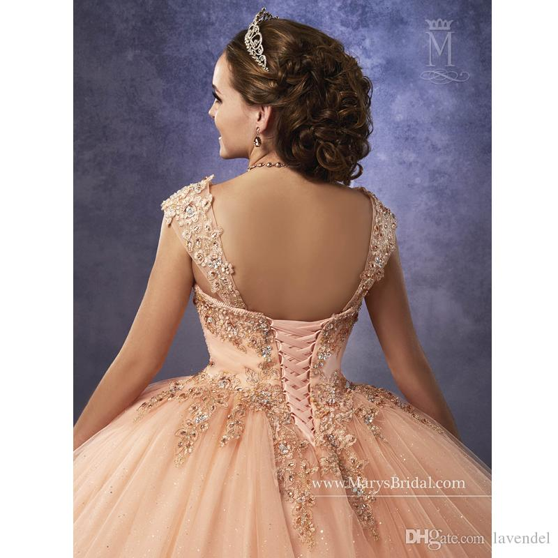 Sparkling Tulle Quinceanera Dresses 2019 Detachable Straps and Basque Waist Peach Sweet 16 Dress Lace Up Back