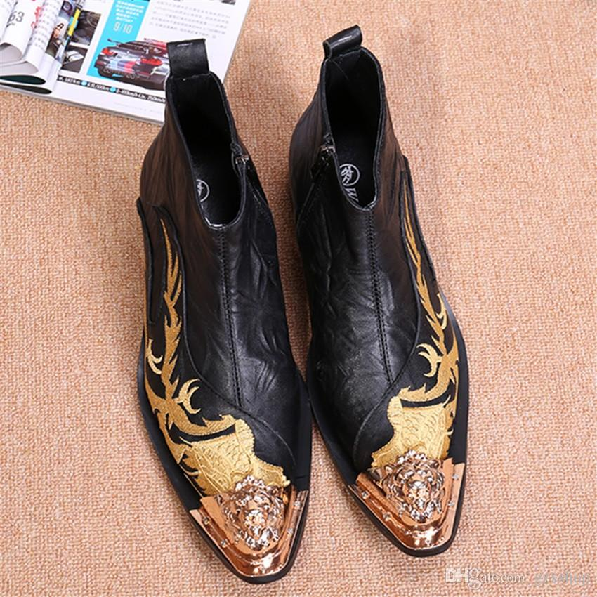 Dragon Embroidery Men Genuine Leather Ankle Boots Metal Pointed Toe ... 2fc2c01f643e