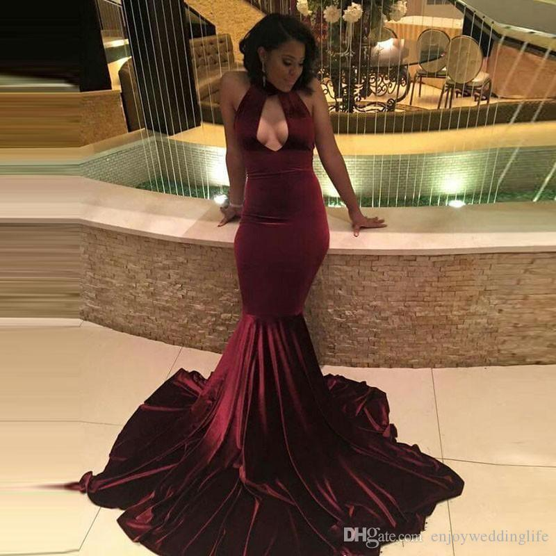 African Burgundy Velvet Mermaid Prom dresses 2017 Sexy Keyhole Neck Hollow Out Evening Dresses With Long Sweep Train Vintage Party Gowns