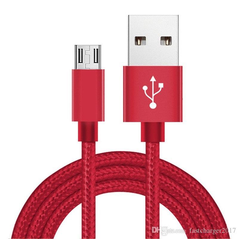 نسيج مضفر سبيكة مايكرو 5pin شاحن بيانات USB كابل كابل لسامسونج S6 S7 حافة الروبوت الهاتف 1 متر 2 متر 3 متر