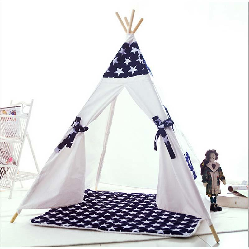 Christmas Gift Children`s Canvas Teepee Tent With Blue Star Kids Play House With Mat Fairy Tent Tent Playhouse From Nintter $223.52| Dhgate.Com  sc 1 st  DHgate.com & Christmas Gift Children`s Canvas Teepee Tent With Blue Star Kids ...