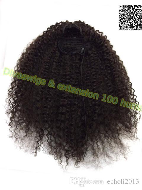 Kinky Curly Ponytail natural hair drawstring Kinky Curly Ponytail Clip in kinky Curly mongolian Human hair Drawstring Ponytail 120g