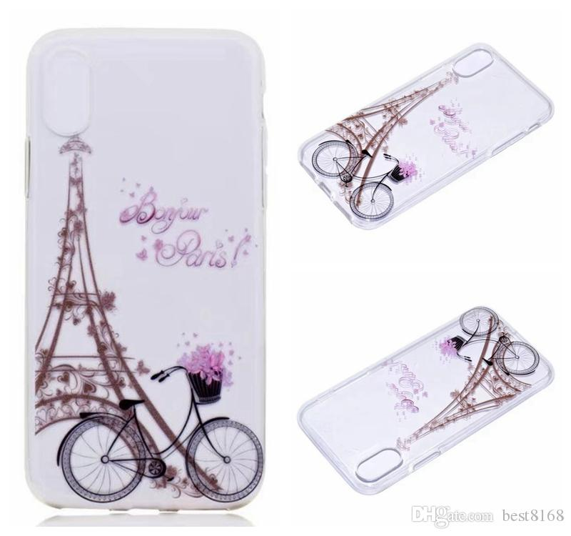 Flower Marble Soft TPU Case For Iphone X 5.8inch Rock Stone Dreamcatcher Eiffel Tower Bike Paisley Mandala Henna Sexy Lady Cover