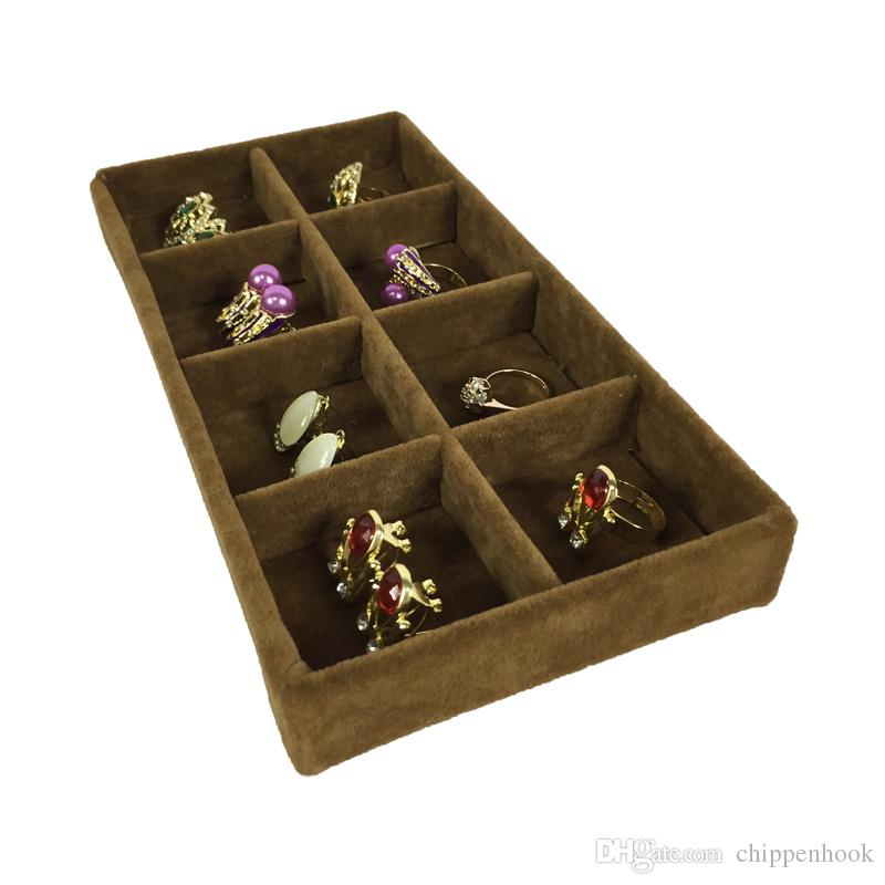 High Quality Velvet Jewelry Display Tray Ring Earring Storage Box Brown Removable 8 Grid Earring Organizer Display Tray 11*22*3cm