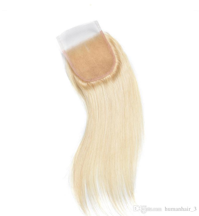 8A #613 Pure Color Silk Straight Lace Closure With Bundles Platinum Blonde Malaysian Human Virgin Hair With Lace Closure 340g