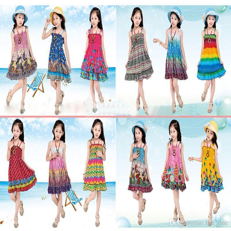 b094fbf9eca6 2019 Girl Summer Beach Dress Kids Summer Long Bohemian Beach Dresses Kids  Princess Flower Dress Kids With Necklace Girls Sleeveless Cotton Dress From  ...