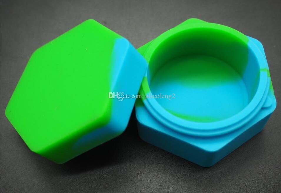 Sześciokąt Silikonowe słoiki Silikonowe DAB Wax Vaporeizer Pojemnik naftowy 26 ml