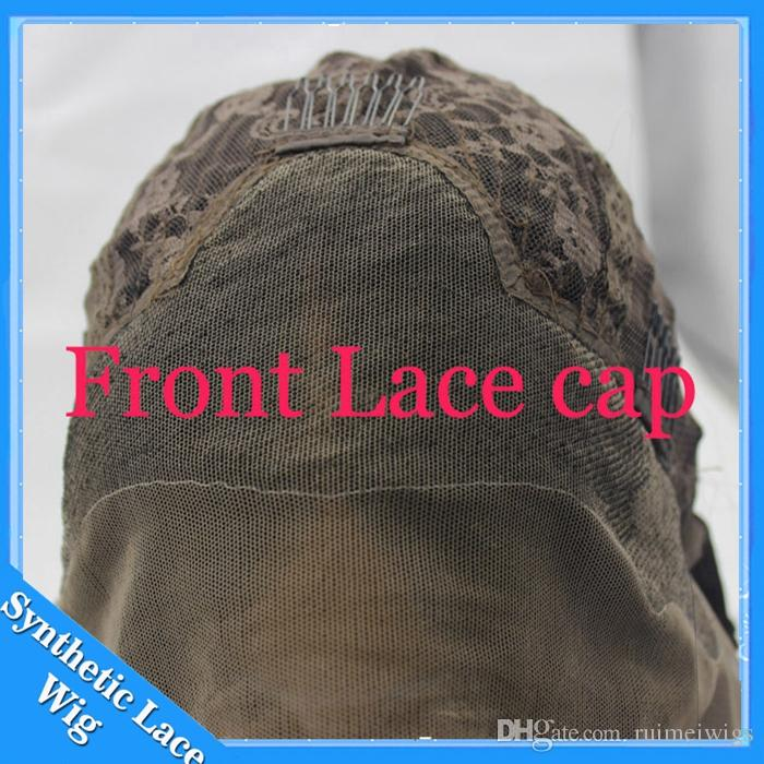 Big Body Wave pelucas sintéticas delanteras del cordón para las mujeres negras Marrón oscuro / negro onduladas onduladas peluca delantera del cordón a prueba de calor con el pelo del bebé