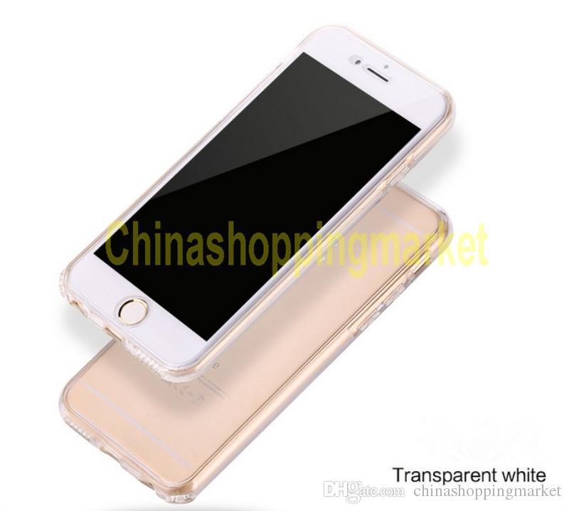 Full Body Case 360 degrés Façade Arrière transparent Couverture souple TPU pour iPhone 5 s 6 7 plus Remarque bord S7