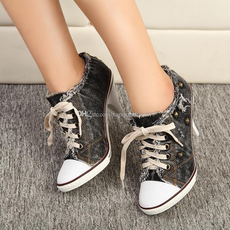 Мода Новый Стиль Женщины Лето Тонкие Высокие Каблуки Зашнуровать Ботильоны Заклепки Мода Повседневная Джинсовая Обувь Женщины Насосы Плюс Размер 34-41