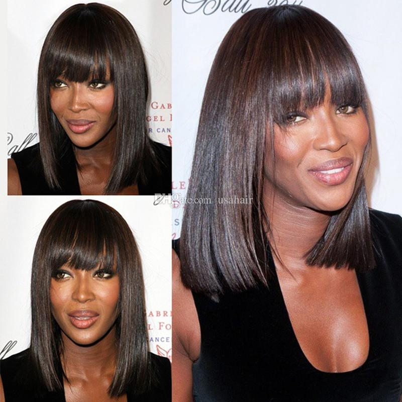 Brazilian Virgin Human Hair Lace Wigs for Black Women Short Bob Straight Dark Brown #2 Lace Front Wigs With Bangs