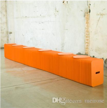 H42cmxL300cm Innovation Furniture Pop-Smart Bench Indoor Universal Waterproof And Dampproof Accordion Style Kraft Portable Sofa for 6 Seats