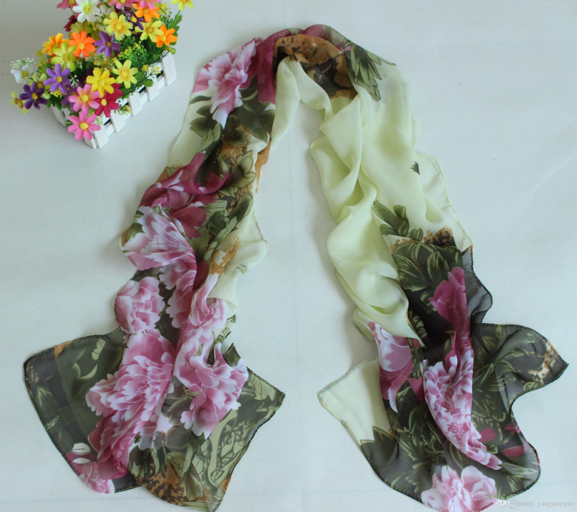 2017 novo cachecol de seda chiffon lenços de seda com um lenço tamanho 160 * 50 CM multi-cor opcional entrega gratuita