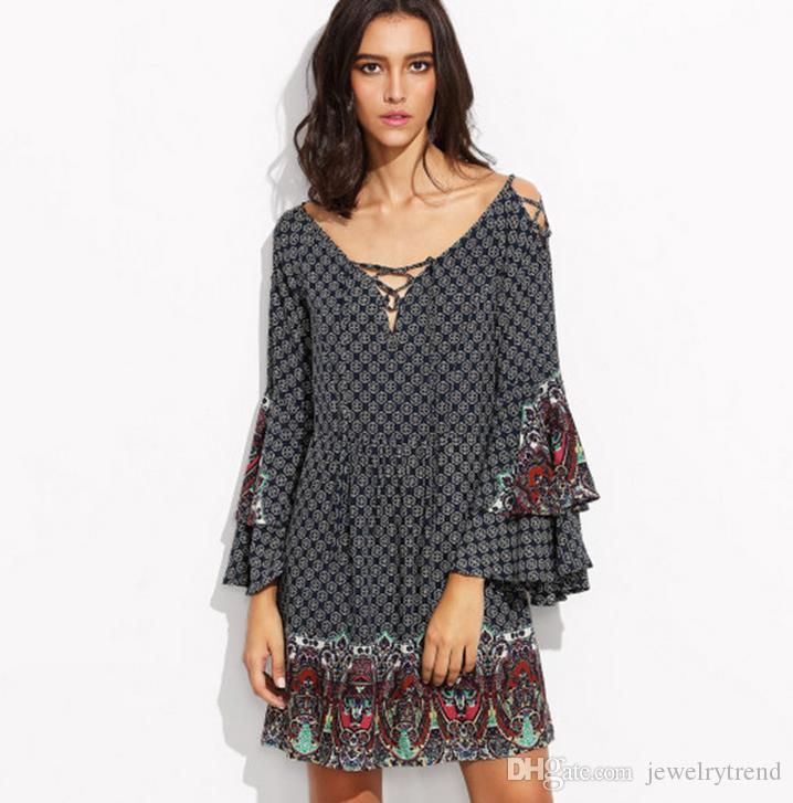 Hot Europe Fashion Vintage Women\'S Plus Size Vintage Dress Flare Sleeve  Lace Up Floral Casual Short Dress Lady\'S Tops Black Dresses Dr Ess  Teenagers ...
