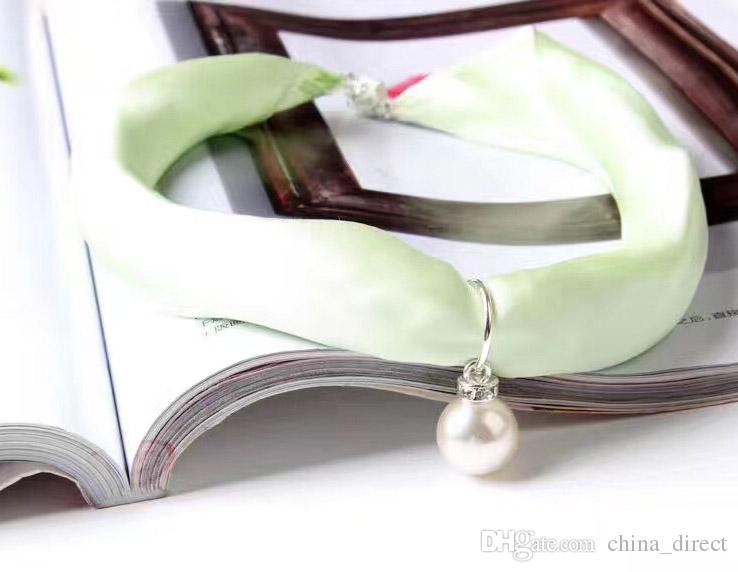 2017 100% maulbeer feste einfarbige seide mehrzweck frauen platz perlenkette SCHAL hand ring schals handtasche zubehör geschenkbox # 4035