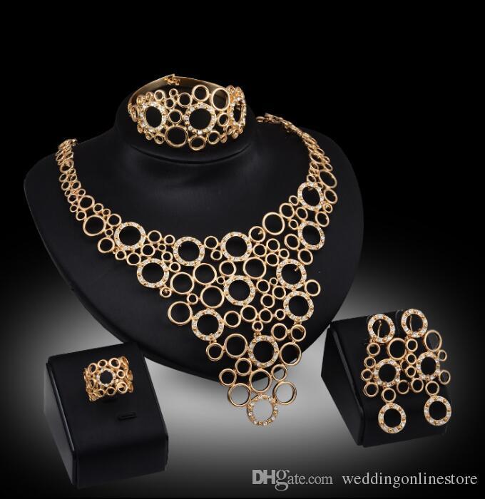 European Statement Rhinestone Jewelry Set Vintage Rose Gold Circle