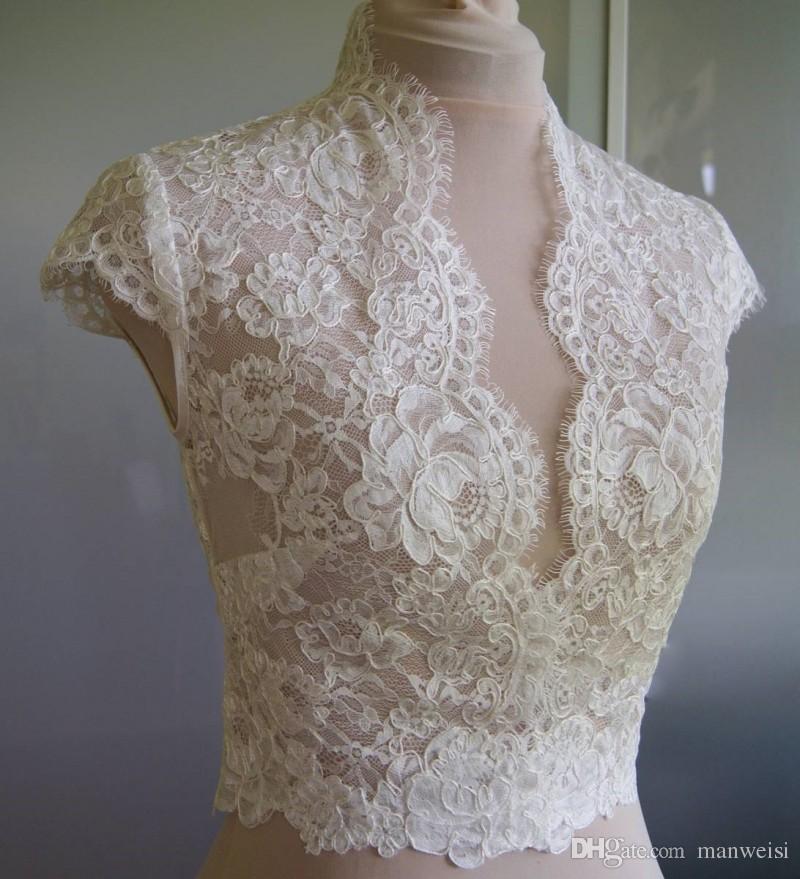 Barato Ivory Bridal Wraps Mangas cortas Abrigo de novia Chaquetas de encaje Capas de boda Wraps Bolero Chaqueta Vestido de novia Wraps Tallas grandes